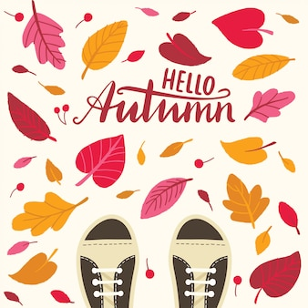 Hello autumn with leaves and boots