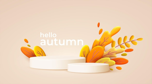 Hello autumn with white podiums and autumn leaves