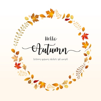 Hello autumn word with dry leaf circle shape falling on background