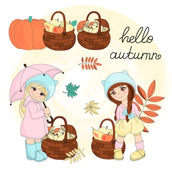 秋クリップアートベクトル図セットカラーhello autumn