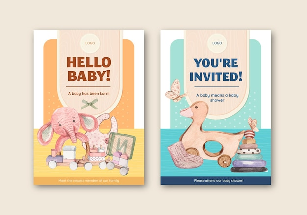 こんにちは赤ちゃんカードテンプレートセット、水彩風
