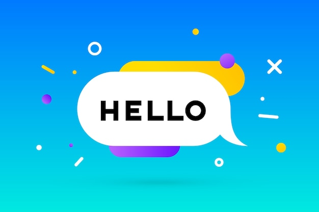 Hello. banner, speech bubble, geometric style with text hello.