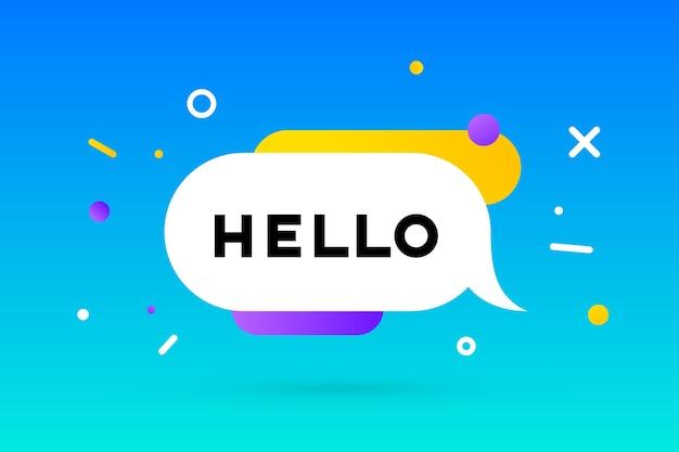 Привет. баннер, речевой пузырь, геометрический стиль с текстом hello.