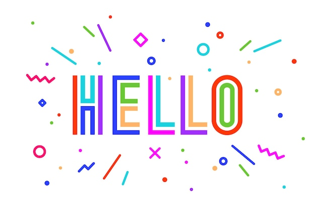 Hello. banner, speech bubble, poster and sticker concept