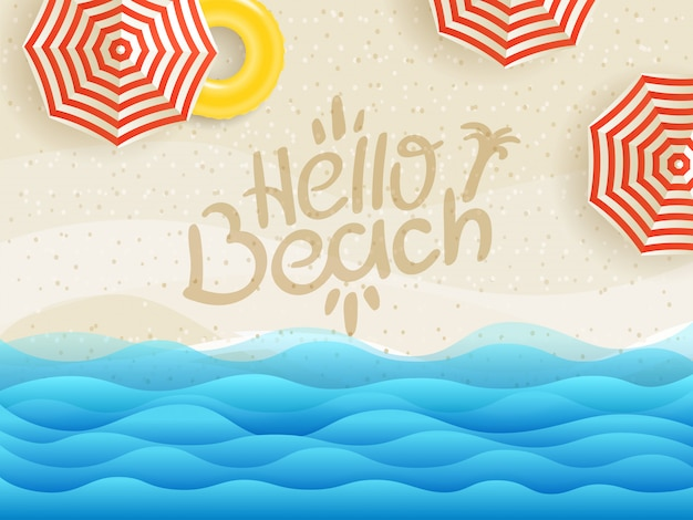 Hello beach banner, sandy beach top view