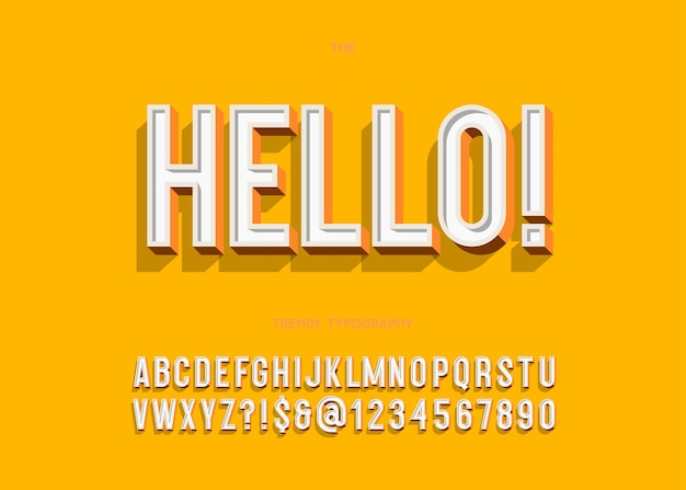 안녕하세요 굵은 글꼴 현대 타이포그래피 산세 리프 3d 스타일 책