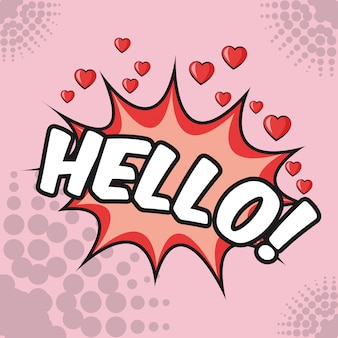 Hello bubble hearts love pop art pink background