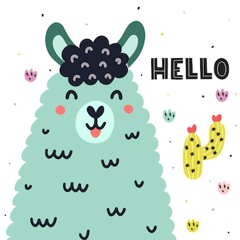 Hello card with a cute llama. colorful print for kids with funny lama. alpaca and cactus in scandinavian style. illustration