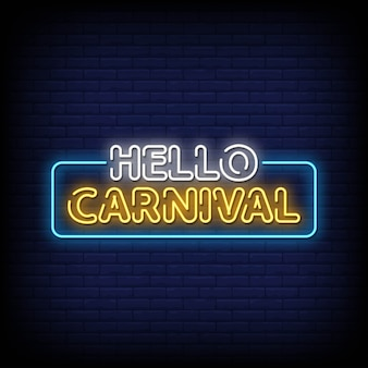 Hello carnival neon signs style text