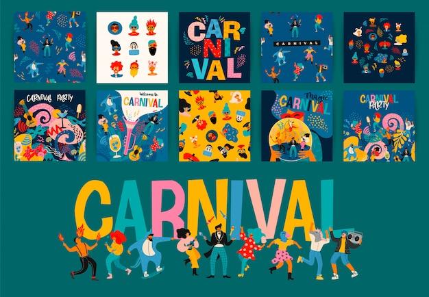 Привет карнавал. набор иллюстраций для карнавала.
