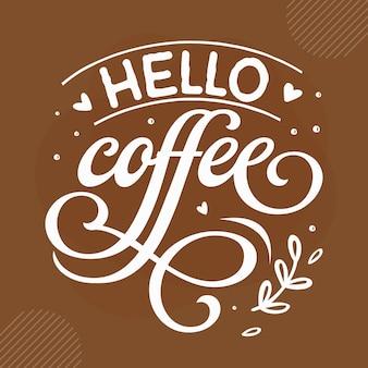 Привет кофе дизайн цитат кофе premium векторы
