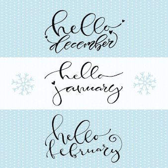 Привет, декабрь январь февраль. рукописные зимние значок. каллиграфические векторные иллюстрации. Premium векторы