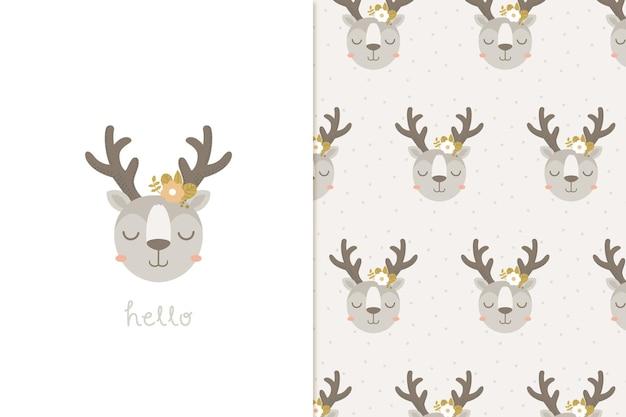 こんにちは鹿とシームレスなパターン