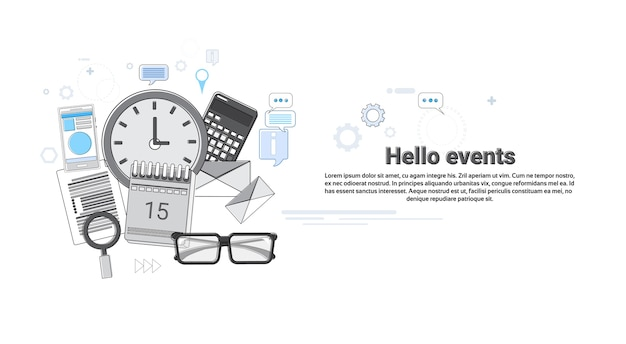 Hello events news portal concept banner thin line vector illustration