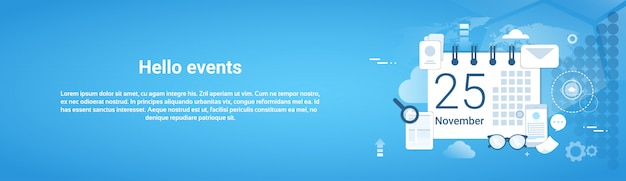 Hello events time management template web horizontal banner