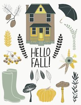 Hello fall. autumn card.