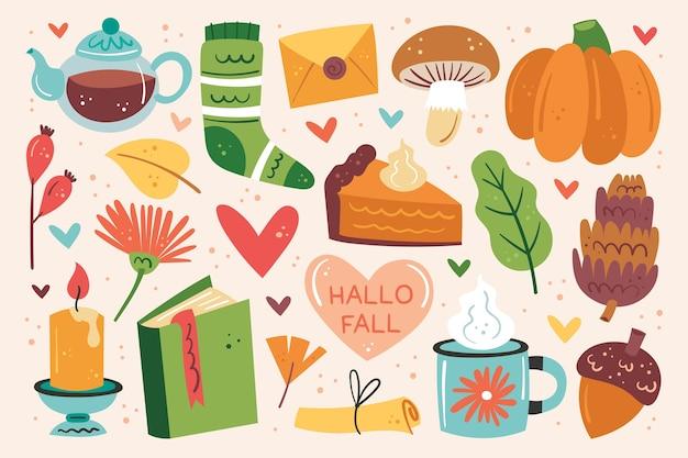 こんにちは秋。秋のクリップアート、要素のセット。