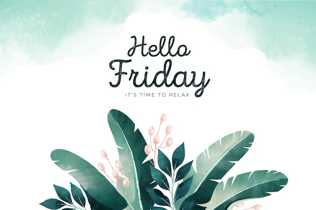 Hello friday background with leaves Premium Vector