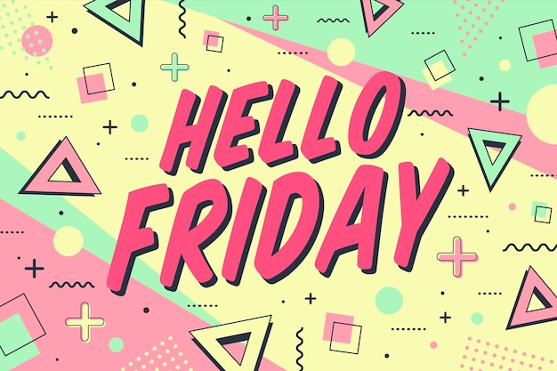 Hello friday in memphis style background