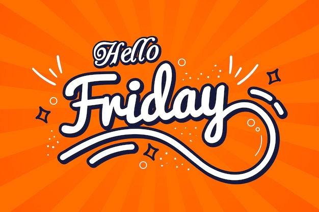 Hello friday orange background