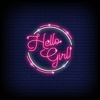 Hello girl neon signs style text