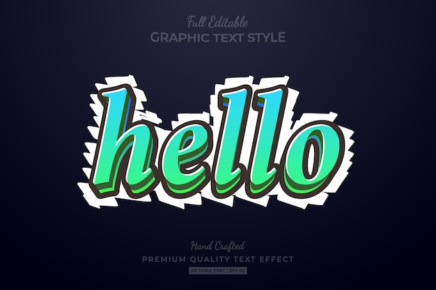 Hello gradient editable premium text effect font style