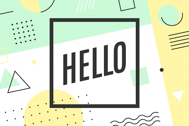 Hello greeting card in graphic memphis style