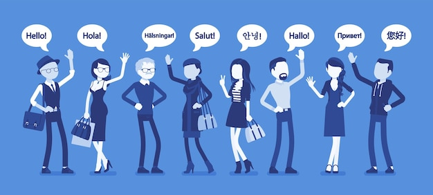 Hello greeting in languages and group of diverse people. friendly men and women from different countries saying hi, word of recognition, hand sign of welcome. vector illustration, faceless characters