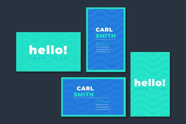 Hello greeting minimal business card template