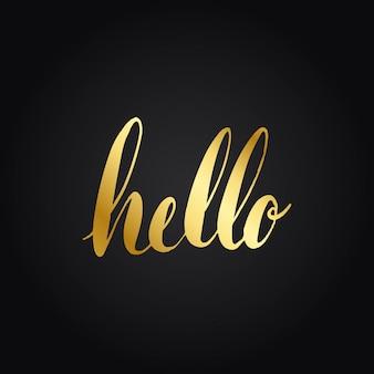 Hello greeting typography style vector