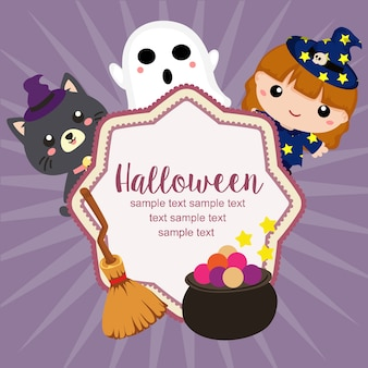 Hello halloween card lovable character flat style
