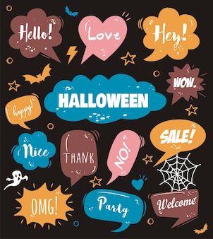 Hello halloween on comic speech bubble