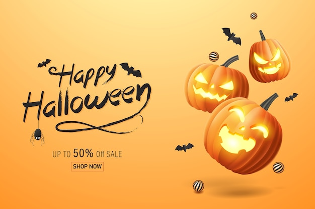 Hello halloweenhappy halloween banner, sale promotion banner with bats and halloween pumpkins. 3d   illustration