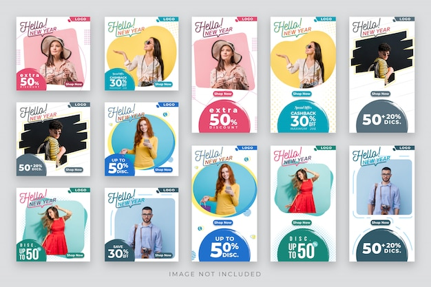 Hello and happy new year post and story social media template Premium Vector