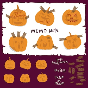 Hello holiday! this is halloween pumpkins memo note pad.