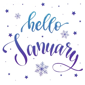Hello january calligraphy quote for posters, banners