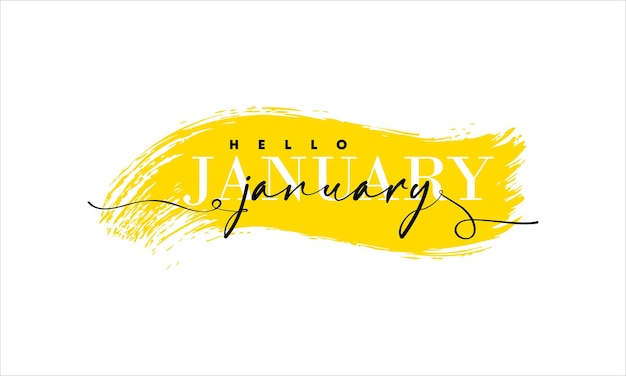 Hello january card. one line. lettering poster with text.