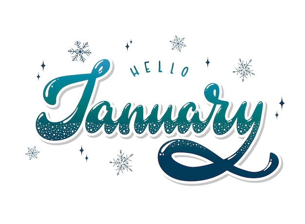 Hello january hand lettering quote