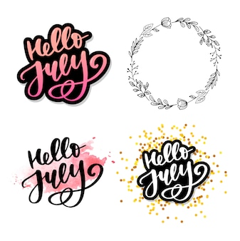 Hello july lettering set