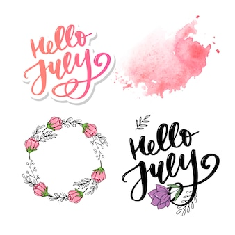 Hello july lettering sey
