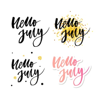 Hello july lettering