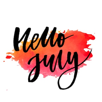 Hello july phrase lettering calligraphy vector color watercolor