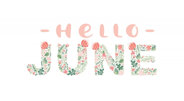 Hello june handwritten calligraphy lettering text.