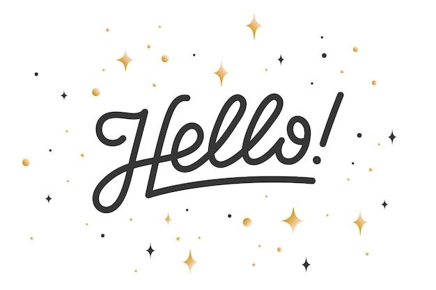 Здравствуйте. надпись для концепции баннера, плаката и наклейки с текстом hello