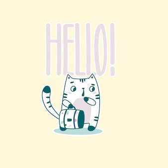 Hello lettering with funny astronaut cat