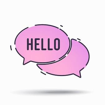 Hello lettering. word in speech bubble