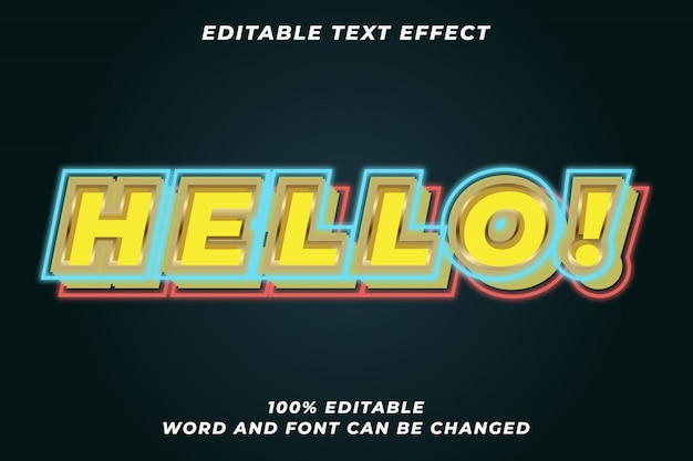 Hello light sign text style effect