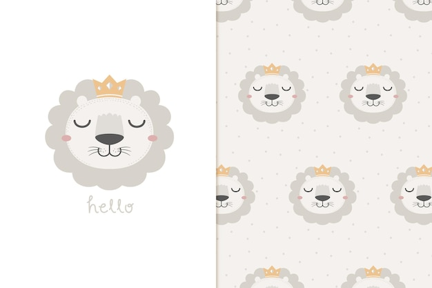 Hello lion and seamless pattern
