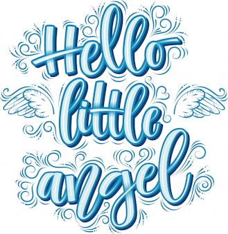 Hello little angel lettering in blue inscription isolated on white