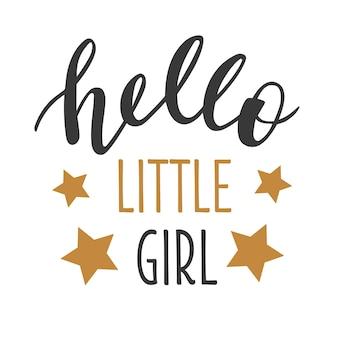 Привет маленькая девочка рисованной надписи